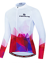 cheap -Men's Long Sleeve Cycling Jersey Red / White Bike Jersey Sports Clothing Apparel / Micro-elastic / Athleisure