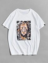 cheap -Men's Unisex T shirt Hot Stamping Lion Animal Plus Size Print Short Sleeve Casual Tops 100% Cotton Basic Casual Fashion White