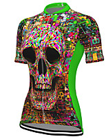cheap -21Grams Women's Short Sleeve Cycling Jersey Spandex Green Skull Bike Top Mountain Bike MTB Road Bike Cycling Breathable Sports Clothing Apparel / Stretchy / Athleisure