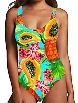 cheap -Women's One Piece Monokini Swimsuit Tummy Control Print Leaf Fruit Green Swimwear Bodysuit Strap Bathing Suits New Fashion Sexy
