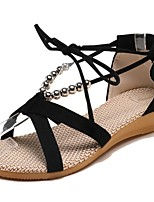 cheap -Women's Sandals Boho Bohemia Beach Wedge Heel Peep Toe Flat Sandals Casual Daily Walking Shoes Faux Leather Solid Colored Black Beige