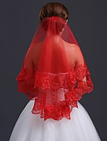 cheap -One-tier Cute Wedding Veil Blusher Veils with Trim 31.5 in (80cm) Lace