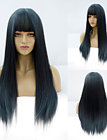 cheap -Synthetic Wig Natural Straight Neat Bang Wig Medium Length A9 Synthetic Hair Women's Cosplay Party Fashion Black Blue