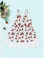 cheap -Kids Toddler Little Girls' Dress Cherry Fruit Sundress Print White Sleeveless Active Dresses Summer Regular Fit 2-6 Years