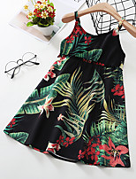 cheap -Kids Toddler Little Girls' Dress Trees / Leaves Sundress Print Green Knee-length Sleeveless Active Dresses Summer Regular Fit 2-8 Years