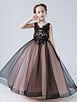 cheap -Princess / Ball Gown V Neck Floor Length Tulle Junior Bridesmaid Dress with Buttons / Pleats / Appliques