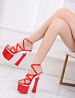 cheap -Women's Sandals Block Heel Open Toe PU Buckle Solid Colored Black Red Pink