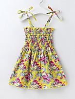 cheap -Kids Little Girls' Dress Floral Holiday Drawstring Print White Yellow Knee-length Sleeveless Active Dresses Regular Fit 2-8 Years