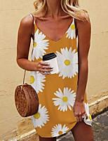 cheap -Women's Strap Dress Short Mini Dress Black Khaki Sleeveless Floral Tie Dye Patchwork Summer V Neck Sexy 2021 S M L XL XXL 3XL