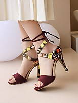 cheap -Women's Sandals Stiletto Heel Open Toe Nubuck Microfiber Lace-up Animal Patterned Wine Black Yellow