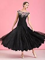 cheap -Ballroom Dance Dress Embroidery Crystals / Rhinestones Women's Training Performance Sleeveless Natural Elastane Tulle