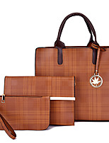cheap -Women's Bags PU Leather Bag Set 3 Pcs Purse Set Date Office & Career Bag Sets Handbags Black Blue Red Yellow