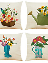 cheap -4 pcs Linen Pillow Cover, Floral&Plants Simple Modern Square Zipper Traditional Classic