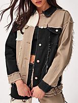 cheap -Women's Color Block Patchwork Spring & Summer Denim Jacket Regular Daily Long Sleeve Denim Coat Tops Black