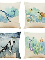 cheap -4 pcs Linen Pillow Cover, 3D Simple Classic Square Zipper Traditional Classic