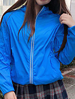 cheap -Women's Solid Colored Streetwear Spring & Summer Jacket Regular Sports Long Sleeve Nylon Coat Tops Royal blue / same style
