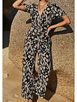 cheap -Women's White Black Jumpsuit Tie Dye Print