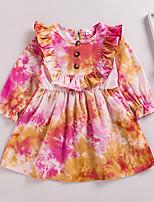 cheap -Kids Little Girls' Dress Tie Dye Ruffle Print Red Long Sleeve Active Dresses Summer Regular Fit 2-6 Years