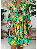 cheap -Women's Chiffon Dress Short Mini Dress Multicolor_1 Red Yellow Orange Gold Green Dark Gray Rainbow Long Sleeve Color Block Summer V Neck Elegant 2021 S M L XL XXL 3XL 4XL 5XL