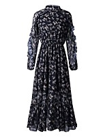 cheap -A-Line Maxi Bohemian Holiday Party Wear Dress Jewel Neck Long Sleeve Ankle Length Chiffon with Pleats Pattern / Print 2021