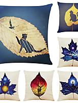 cheap -6 pcs Linen Pillow Cover, Floral&Plants Simple Modern Square Zipper Traditional Classic