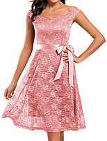 cheap -A-Line Elegant Vintage Party Wear Cocktail Party Dress Off Shoulder Short Sleeve Knee Length Lace with Sash / Ribbon Pleats 2021