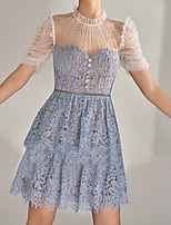 cheap -A-Line Flirty Boho Holiday Cocktail Party Dress Illusion Neck Short Sleeve Short / Mini Lace with Buttons Tier 2021