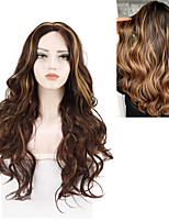 cheap -Wave Small Lace Front Wig For Women Honey Blonde Highlight 26 Inch Heat Resisant Wigs Free Cap