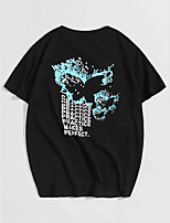 cheap -Men's Unisex T shirt Hot Stamping Butterfly Animal Plus Size Print Short Sleeve Casual Tops 100% Cotton Basic Casual Fashion Black