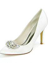 cheap -Women's Wedding Shoes Stiletto Heel Pointed Toe Wedding Pumps Satin Rhinestone Solid Colored White Black Purple
