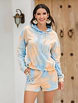 cheap -Women's Streetwear Tie Dye Going out Casual / Daily Two Piece Set Hoodies & Sweatshirts Tracksuit Loungewear Shorts Print Tops