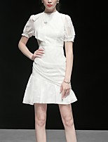 cheap -A-Line Minimalist Elegant Homecoming Cocktail Party Dress Jewel Neck Short Sleeve Short / Mini Chiffon with Bow(s) 2021
