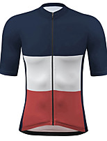 cheap -21Grams Men's Short Sleeve Cycling Jersey Spandex Dark Blue Bike Top Mountain Bike MTB Road Bike Cycling Breathable Quick Dry Sports Clothing Apparel / Athleisure