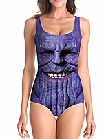cheap -gorgerous thanos swimsuit for women printed one piece sexy bikini high cut backless swimwear u-neck surfing bathing suit (thanos, l/xl)
