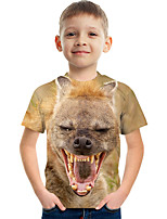 cheap -Kids Boys' Tee Short Sleeve Graphic Animal Children Tops Active Brown