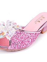 cheap -Girls' Heels Flower Girl Shoes Princess Shoes School Shoes Rubber PU Little Kids(4-7ys) Big Kids(7years +) Daily Party & Evening Walking Shoes Rhinestone Buckle Sequin Pink Silver Fall Spring