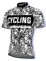 cheap -21Grams Men's Short Sleeve Cycling Jersey Spandex Black+White Floral Botanical Bike Top Mountain Bike MTB Road Bike Cycling Breathable Quick Dry Sports Clothing Apparel / Athleisure