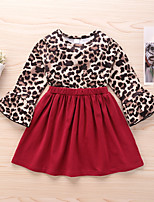 cheap -Kids Little Girls' Dress Leopard Print Red Long Sleeve Active Dresses Summer Regular Fit 2-6 Years