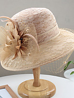 cheap -Vintage Style Elegant Tulle / Lace Hats / Headwear / Straw Hats with Feather / Lace / Appliques 1 Piece Casual / Holiday Headpiece