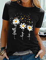 cheap -Women's T shirt Graphic Floral Print Round Neck Tops Basic Basic Top Black