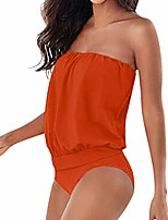 cheap -xuejin women sexy one piece swimsuits lace up ruffled off shoulder flounce monokini bathing suits orange