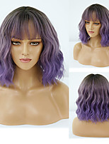 cheap -Synthetic Wig Deep Wave Neat Bang Wig Short A1 A2 A3 A4 Synthetic Hair Women's Cosplay Party Fashion Purple