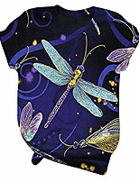 cheap -dragonfly print fashion t shirt cotton graphic blouse casual summer short sleeve tops novelty shirt