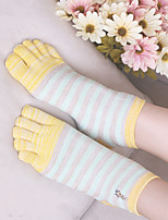 cheap -Women's Hiking Socks 1 Pair Outdoor Soft Stretchy Comfortable Socks Patchwork Cotton Purple Yellow Grey for Hunting Fishing Climbing