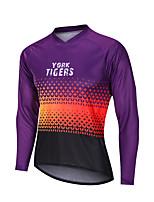 cheap -YORK TIGERS Men's Long Sleeve Cycling Jersey Downhill Jersey Violet Stars Bike Tee Tshirt Sports Clothing Apparel / Advanced / Micro-elastic / Athleisure