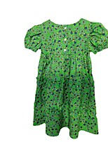 cheap -korean children's clothing 2021 new spring and summer girls skirt western princess dress baby girl child floral round neck dress