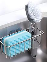 cheap -Kitchen Drain Rack Stainless Steel Sponge Brush Holder for Sink Shelf Sponge Storage Organizer Durable Practical