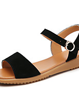 cheap -Women's Sandals Boho Bohemia Beach Flat Heel Round Toe Leather Striped Black Gray
