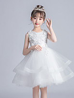 cheap -Princess / Ball Gown Jewel Neck Knee Length Tulle Junior Bridesmaid Dress with Ruffles / Appliques