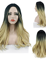 cheap -Synthetic Wig Wavy Middle Part Wig Black / Strawberry Blonde Ombre Black / Medium Auburn Black / Grey Synthetic Hair Women's Odor Free Adjustable Heat Resistant Blonde Gray / Luminous wig